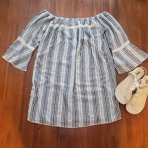 Peppermint Blue and White Striped Boho Dress